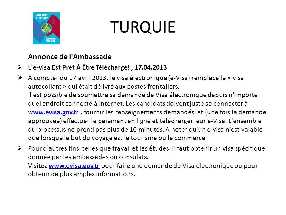 TURQUIE Annonce de l Ambassade