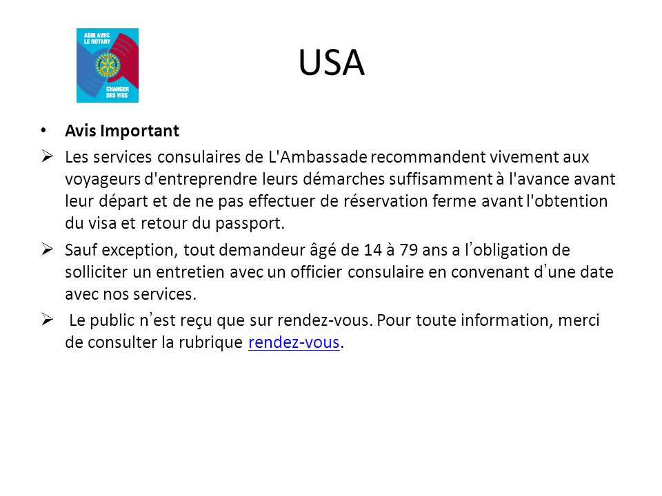 USA Avis Important.