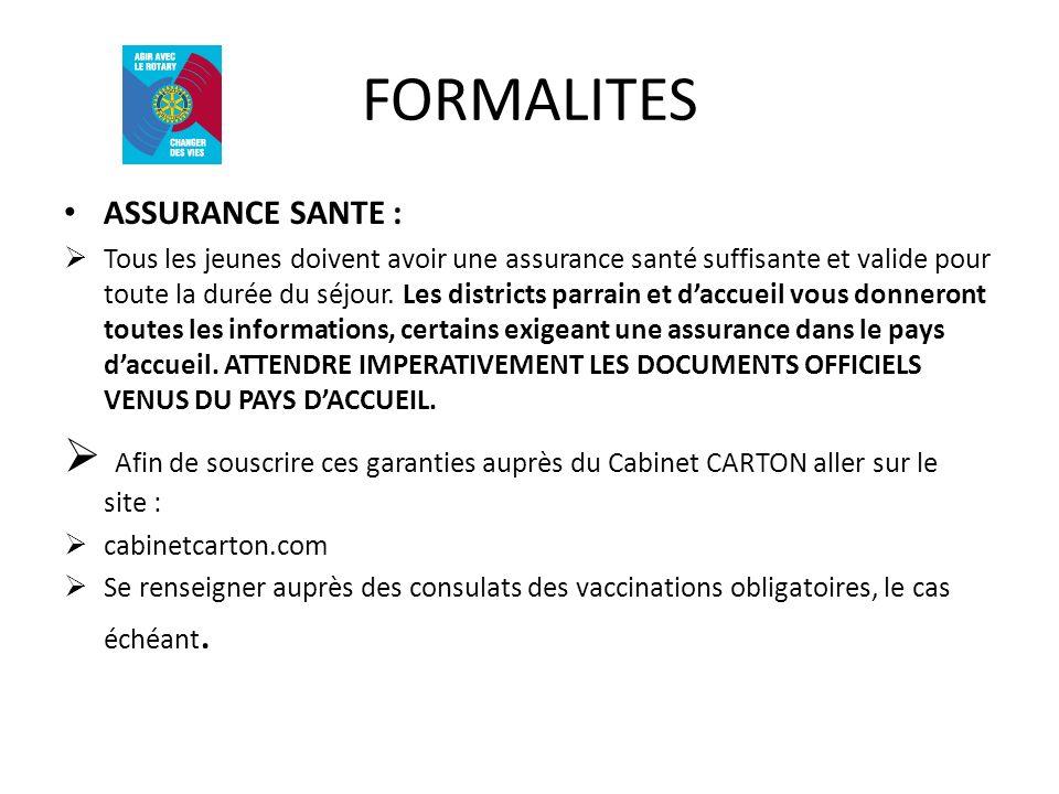 FORMALITES ASSURANCE SANTE :