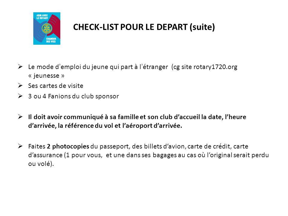 CHECK-LIST POUR LE DEPART (suite)