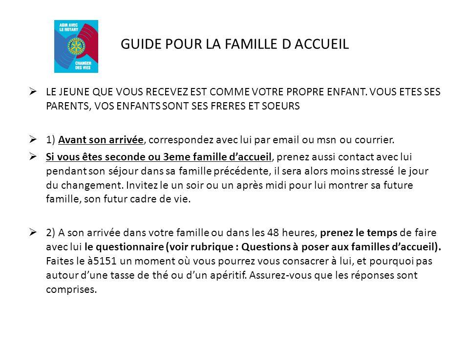 GUIDE POUR LA FAMILLE D ACCUEIL