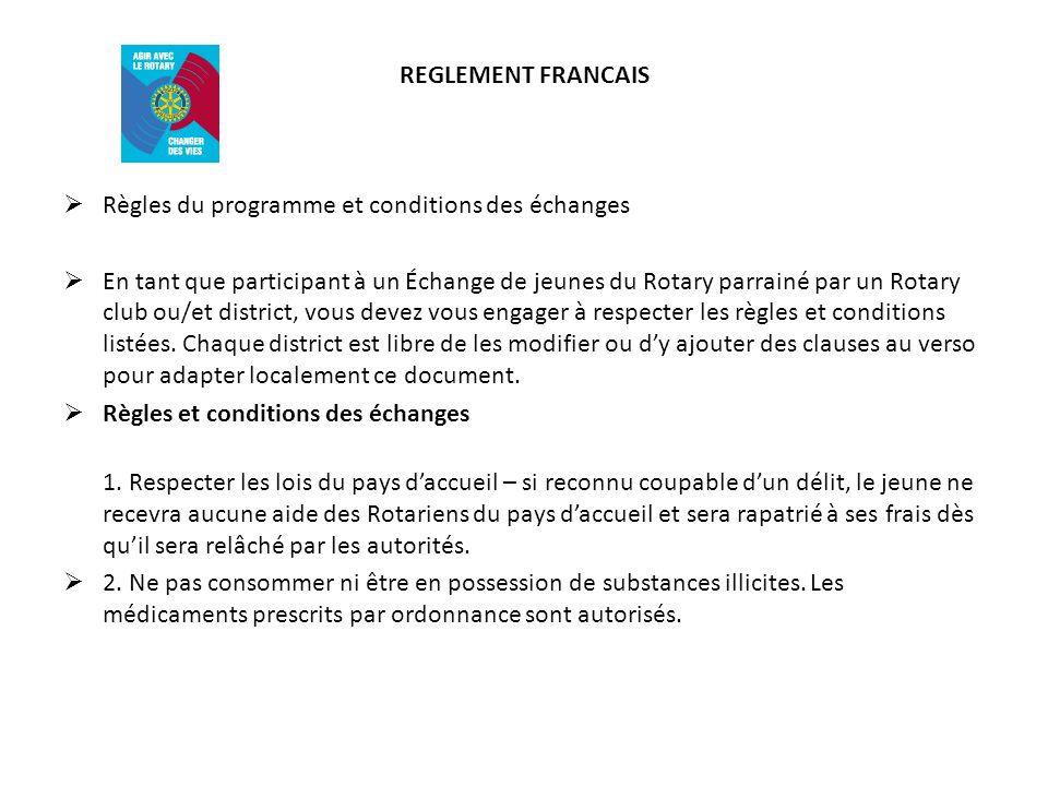 REGLEMENT FRANCAIS Règles du programme et conditions des échanges.