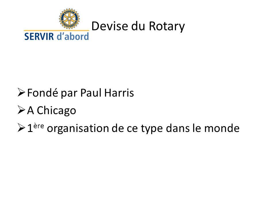 Devise du Rotary Fondé par Paul Harris A Chicago
