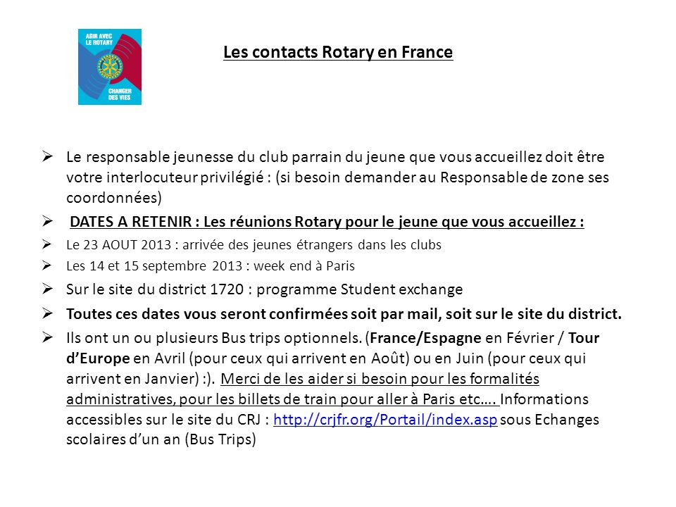 Les contacts Rotary en France