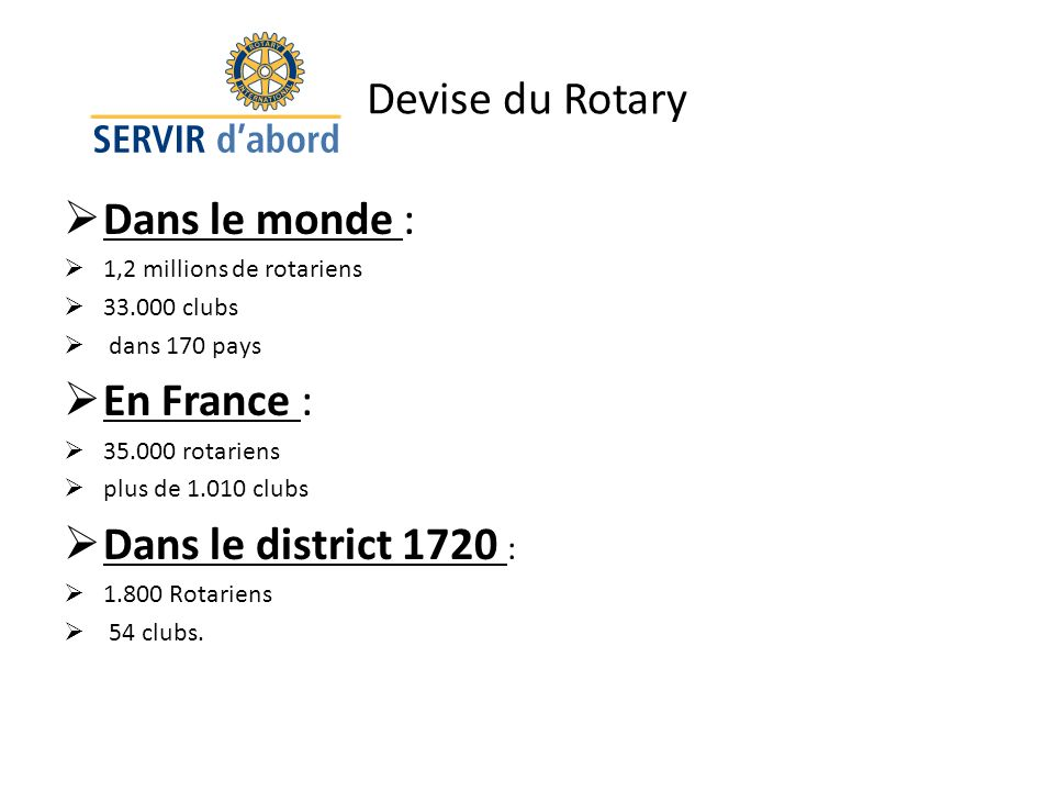 Devise du Rotary Dans le monde : En France : Dans le district 1720 :