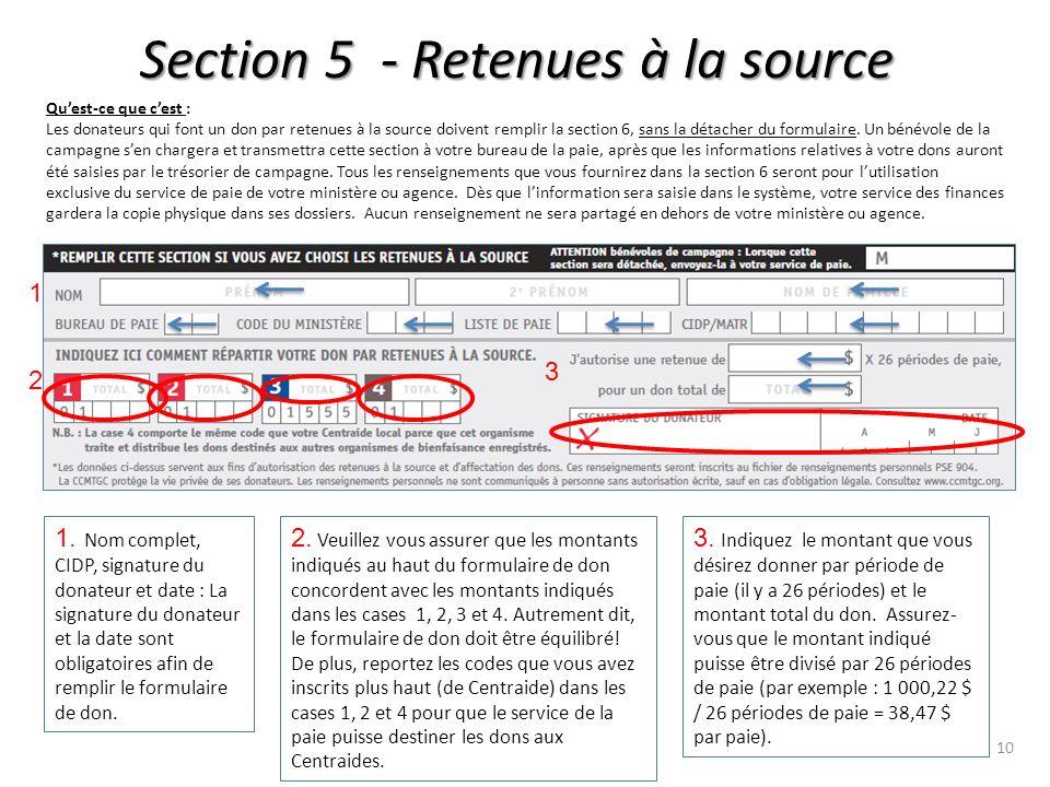 Section 5 - Retenues à la source