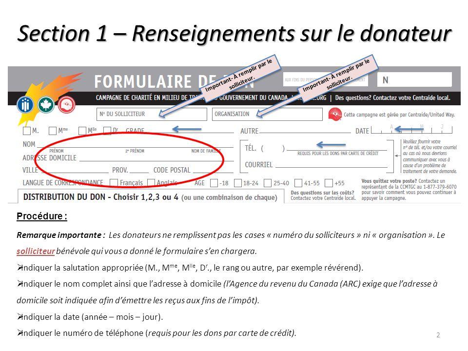 Section 1 – Renseignements sur le donateur