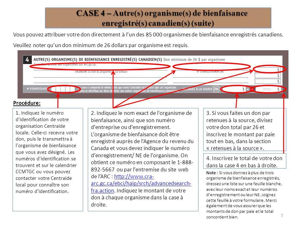CASE 4 – Autre(s) organisme(s) de bienfaisance enregistré(s) canadien(s) (suite)