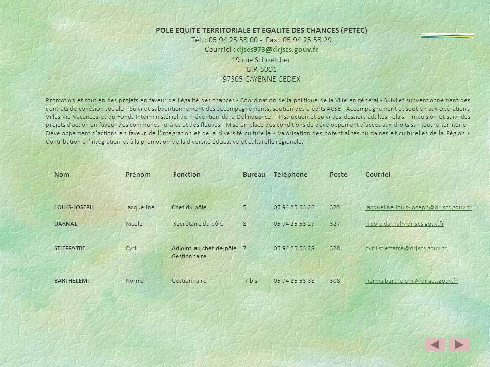 POLE EQUITE TERRITORIALE ET EGALITE DES CHANCES (PETEC)