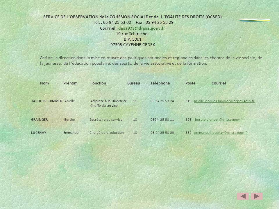 SERVICE DE L'OBSERVATION de la COHESION SOCIALE et de L 'EGALITE DES DROITS (OCSED) Tél. : 05 94 25 53 00 - Fax : 05 94 25 53 29 Courriel : djscs973@drjscs.gouv.fr 19 rue Schœlcher B.P. 5001 97305 CAYENNE CEDEX