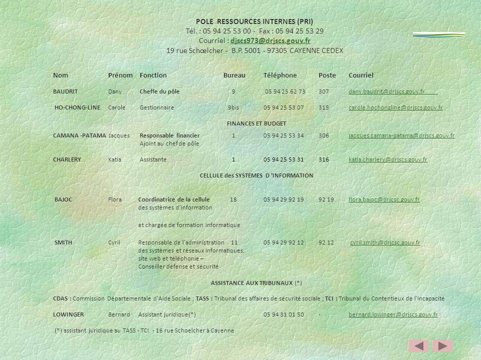 POLE RESSOURCES INTERNES (PRI) CELLULE des SYSTEMES D 'INFORMATION