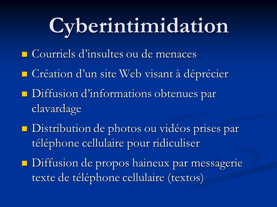Cyberintimidation Courriels d'insultes ou de menaces