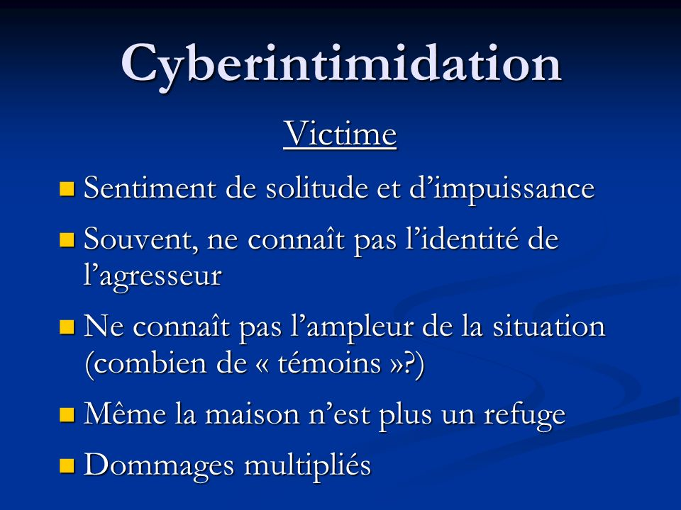 Cyberintimidation Victime Sentiment de solitude et d'impuissance