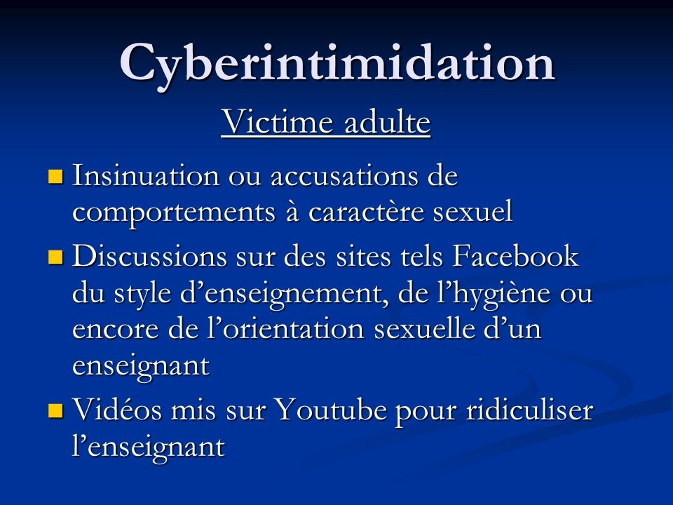 Cyberintimidation Victime adulte