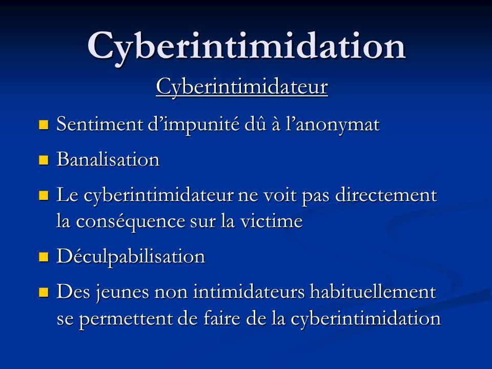 Cyberintimidation Cyberintimidateur