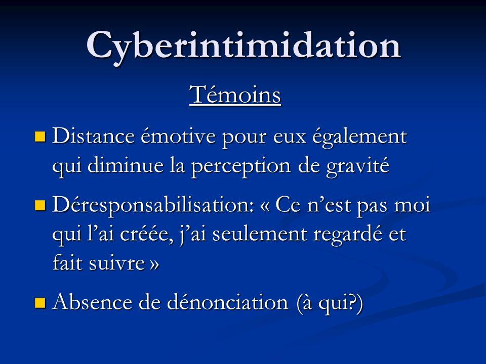 Cyberintimidation Témoins