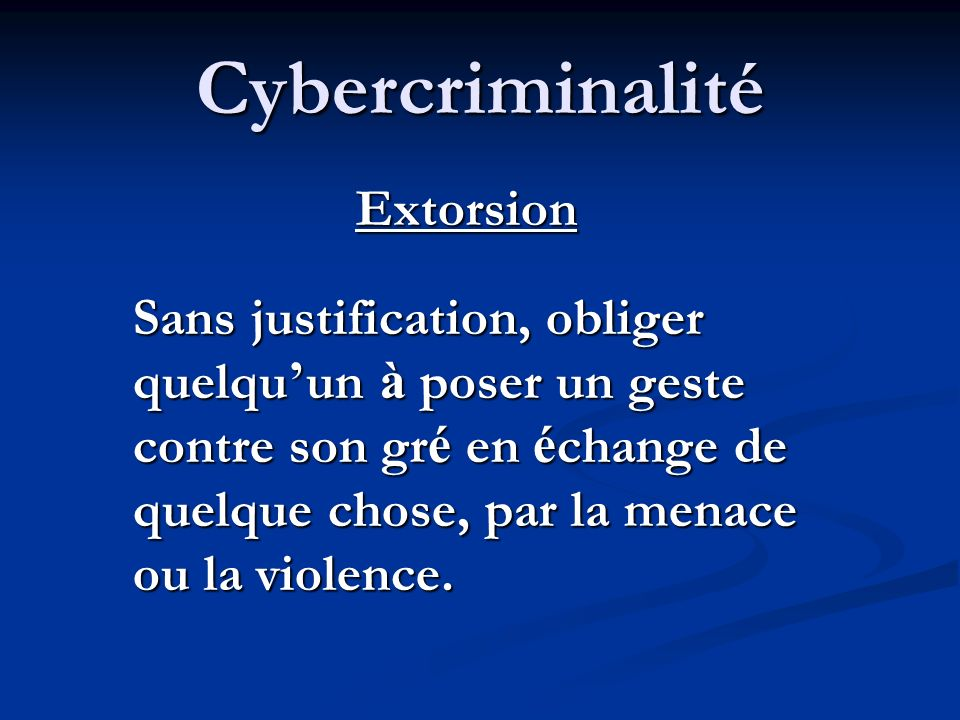 Cybercriminalité Extorsion