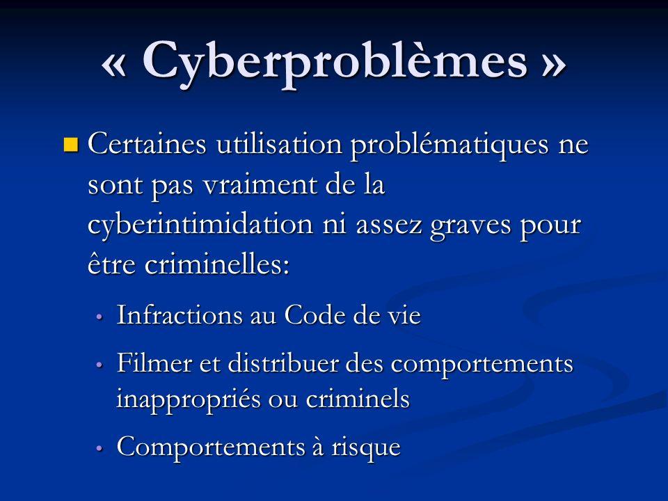« Cyberproblèmes » Certaines utilisation problématiques ne sont pas vraiment de la cyberintimidation ni assez graves pour être criminelles: