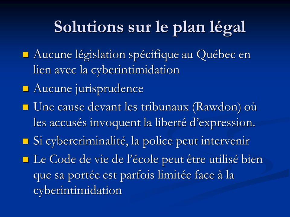 Solutions sur le plan légal