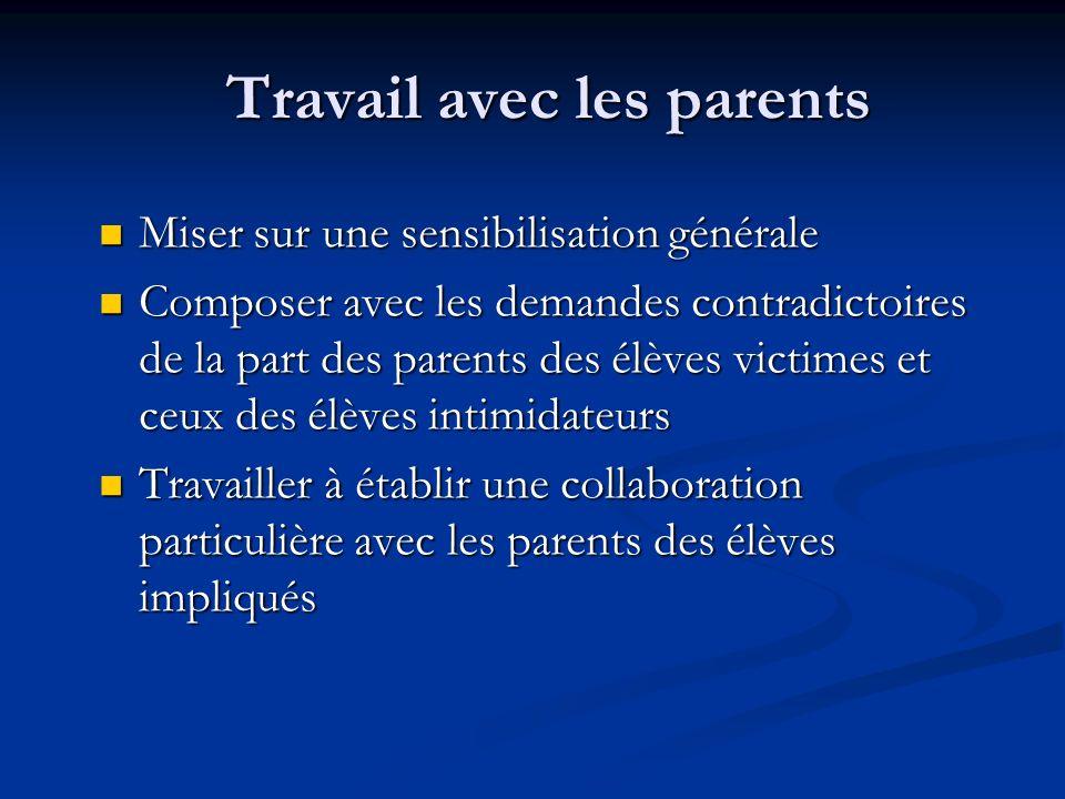 Travail avec les parents