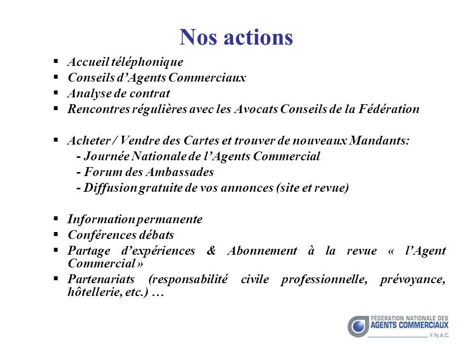 Nos actions Accueil téléphonique Conseils d'Agents Commerciaux