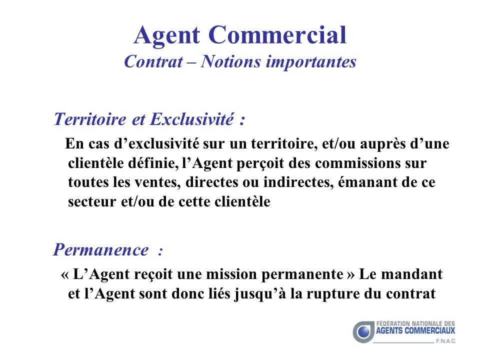 Agent Commercial Contrat – Notions importantes
