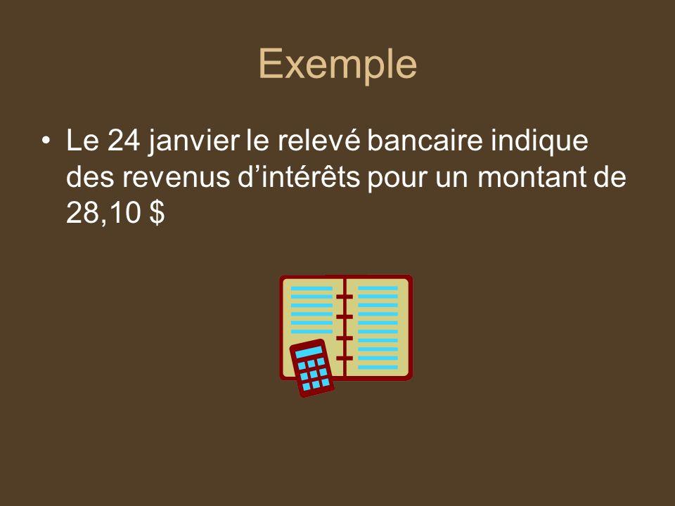 Exemple Le 24 janvier le relevé bancaire indique des revenus d'intérêts pour un montant de 28,10 $