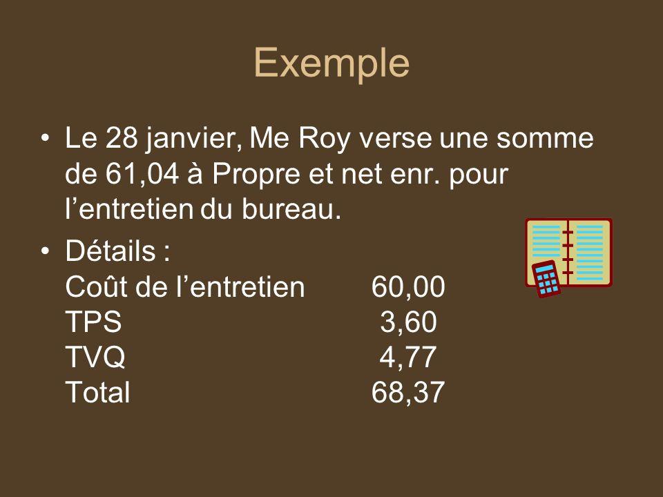 Exemple Le 28 janvier, Me Roy verse une somme de 61,04 à Propre et net enr. pour l'entretien du bureau.