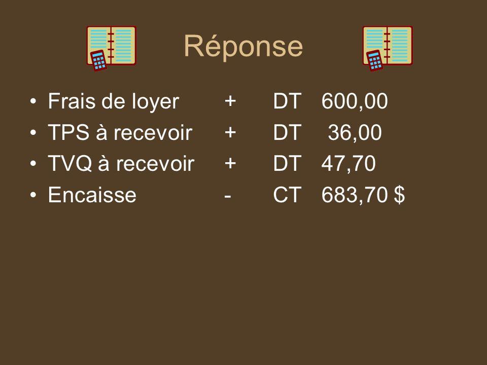 Réponse Frais de loyer + DT 600,00 TPS à recevoir + DT 36,00