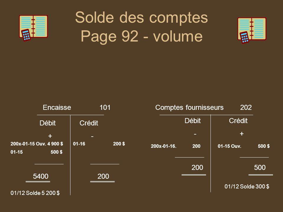 Solde des comptes Page 92 - volume