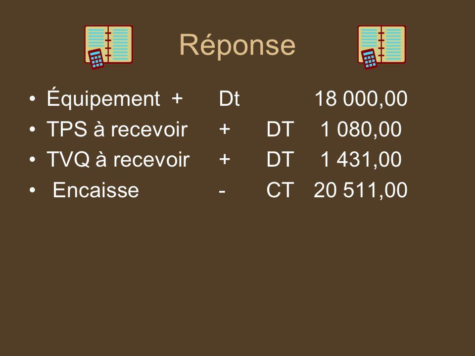 Réponse Équipement + Dt 18 000,00 TPS à recevoir + DT 1 080,00