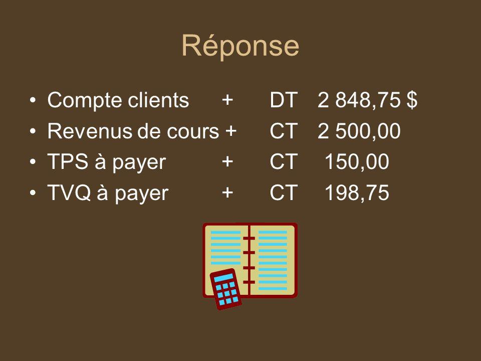 Réponse Compte clients + DT 2 848,75 $ Revenus de cours + CT 2 500,00