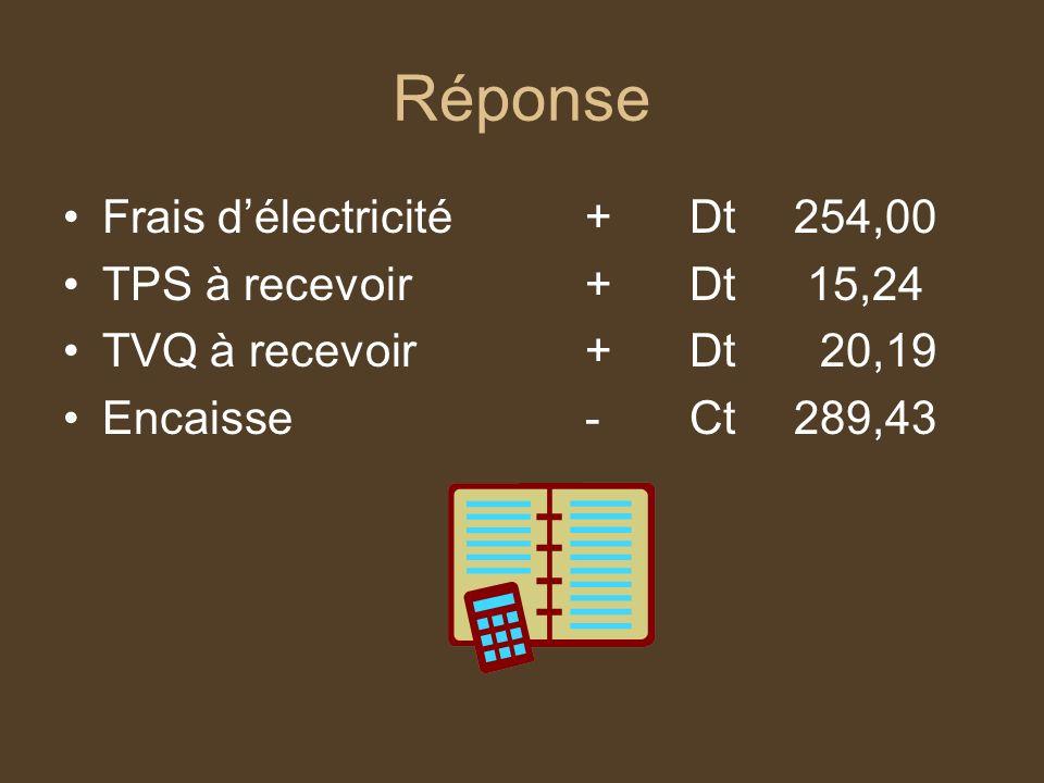Réponse Frais d'électricité + Dt 254,00 TPS à recevoir + Dt 15,24
