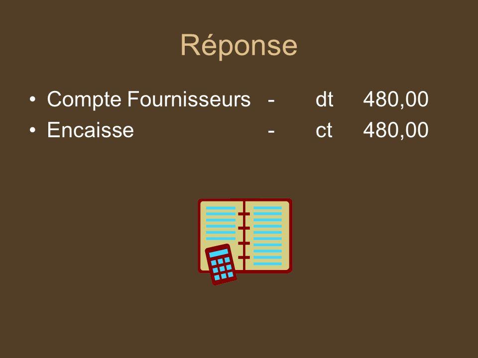 Réponse Compte Fournisseurs - dt 480,00 Encaisse - ct 480,00
