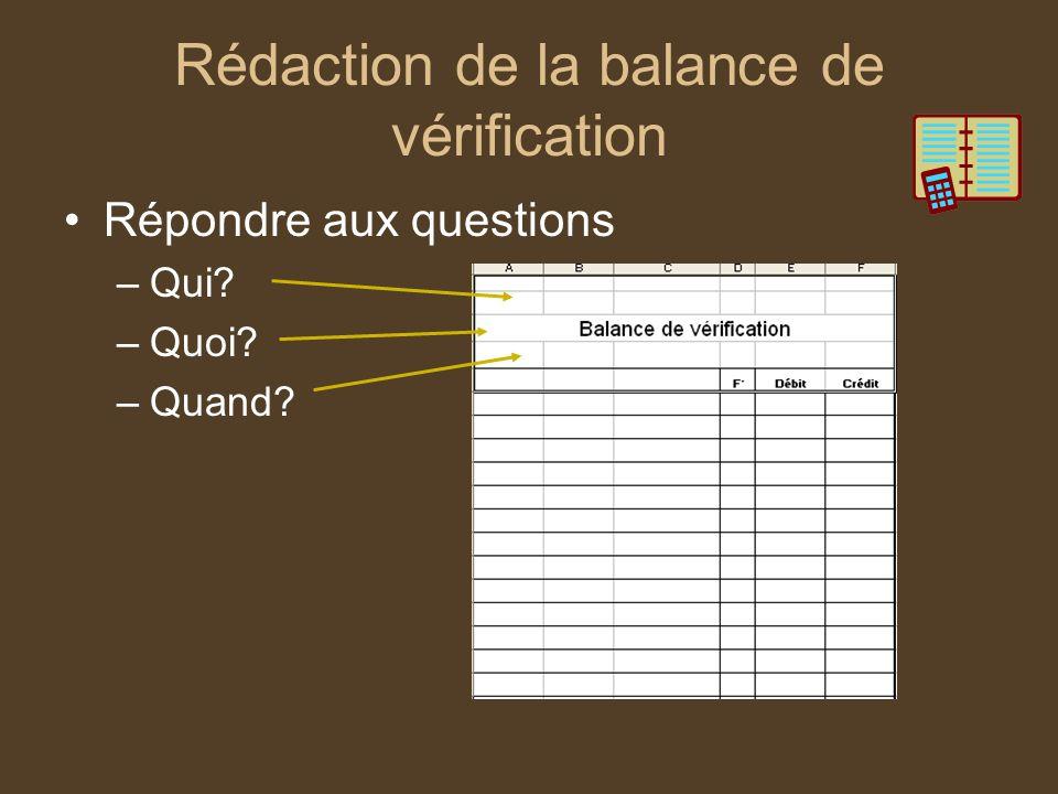 Rédaction de la balance de vérification