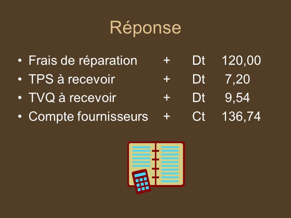 Réponse Frais de réparation + Dt 120,00 TPS à recevoir + Dt 7,20