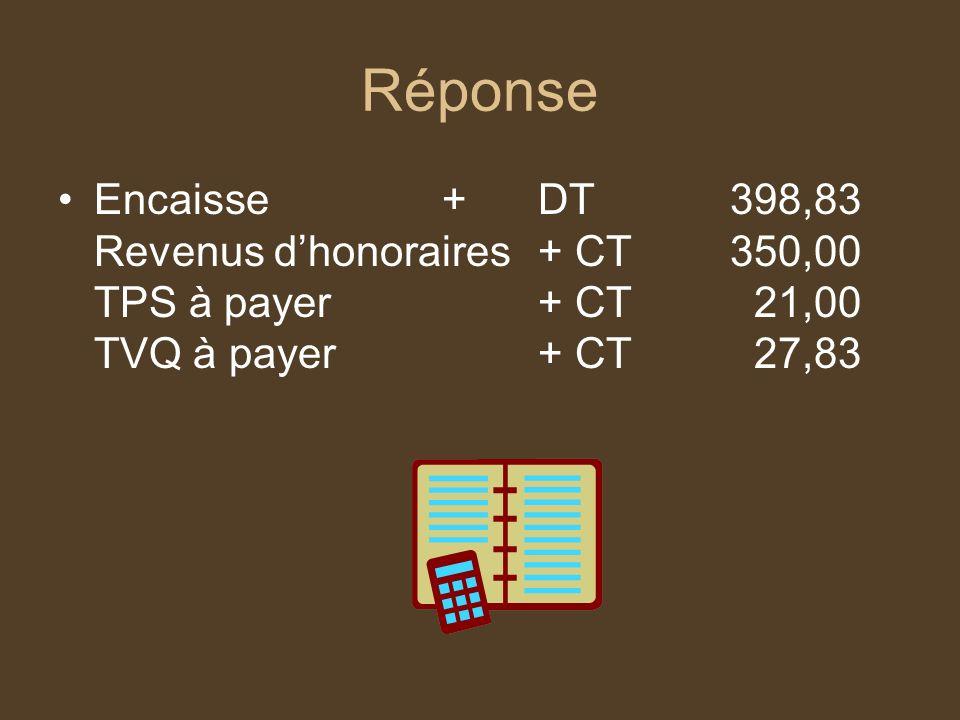 Réponse Encaisse + DT 398,83 Revenus d'honoraires + CT 350,00 TPS à payer + CT 21,00 TVQ à payer + CT 27,83.