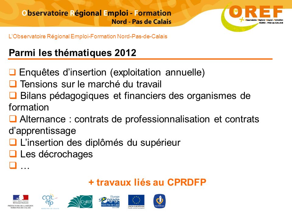 + travaux liés au CPRDFP