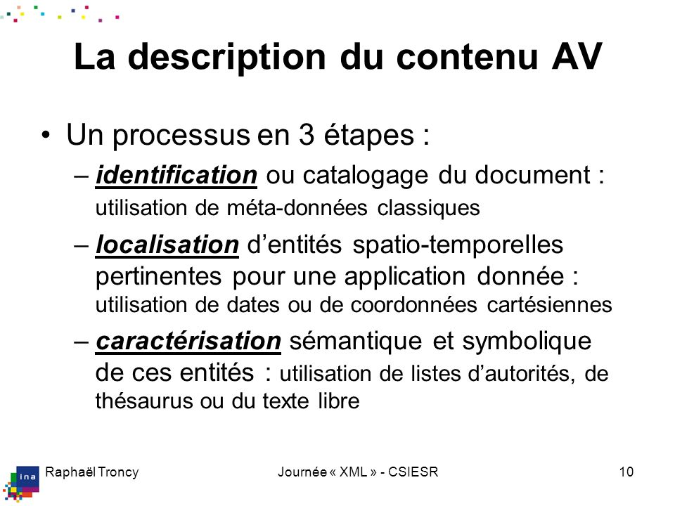 La description du contenu AV