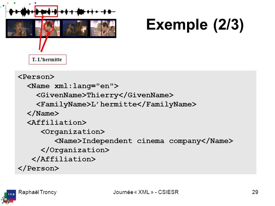 Exemple (3/3) <Segment xsi:type= MovingRegionType >