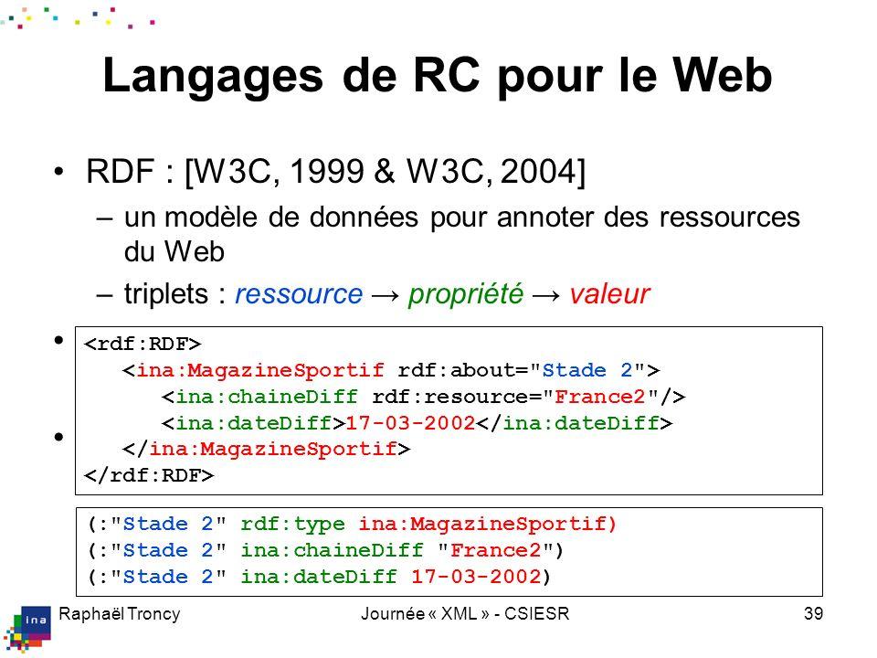 Utilisation de OWL+RDF pour décrire des documents AV