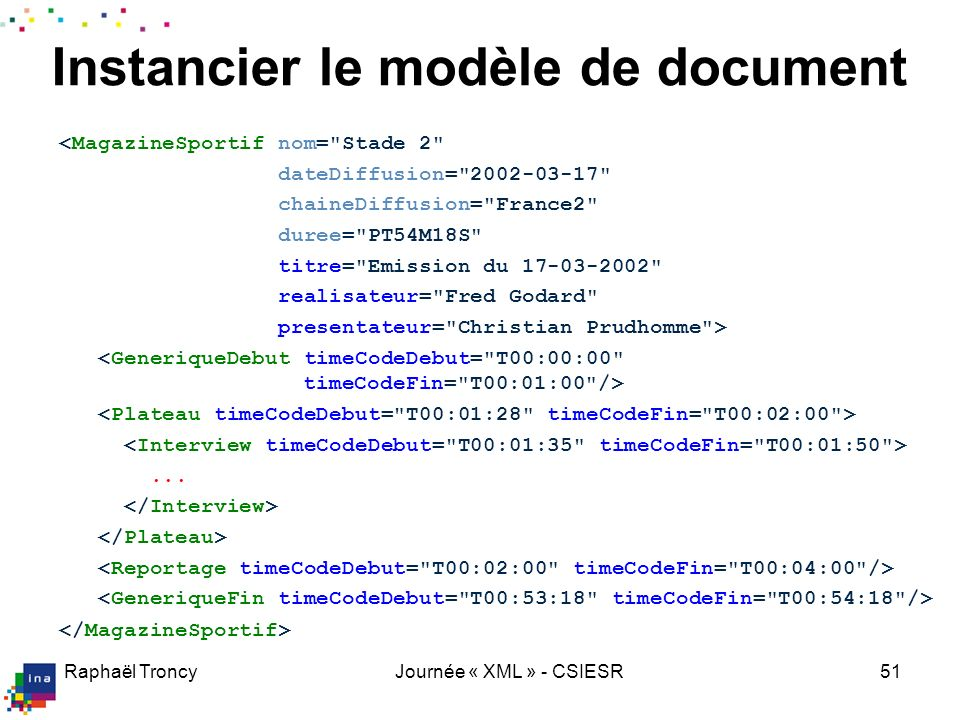 Instancier le modèle de document
