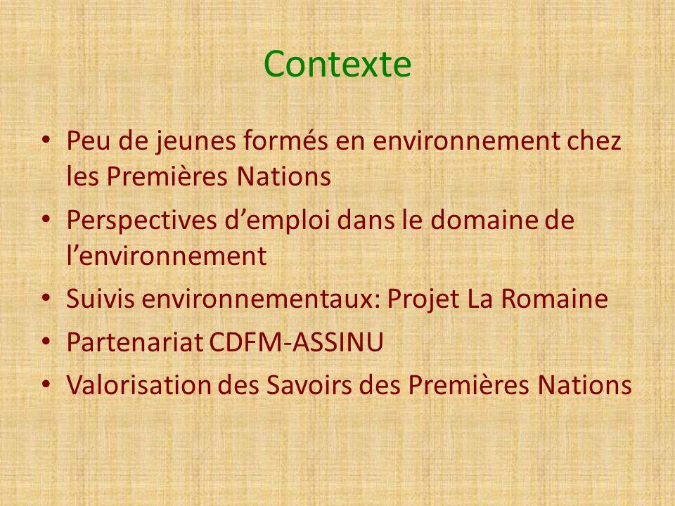Contexte Peu de jeunes formés en environnement chez les Premières Nations. Perspectives d'emploi dans le domaine de l'environnement.