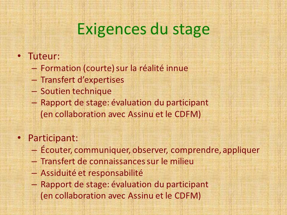 Exigences du stage Tuteur: Participant: