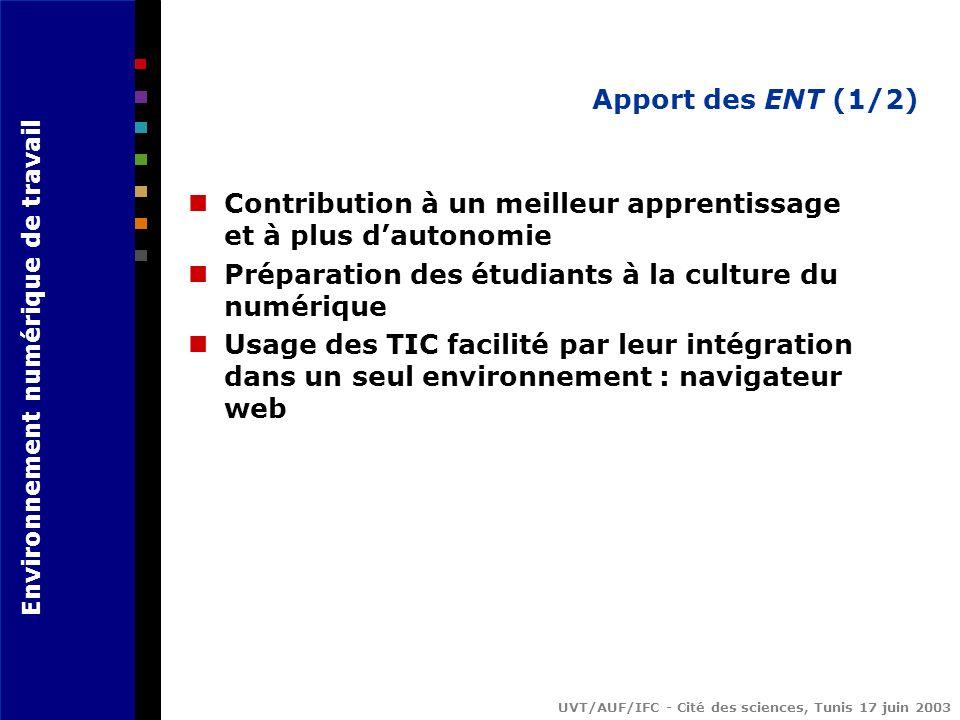 Apport des ENT (1/2) Contribution à un meilleur apprentissage et à plus d'autonomie. Préparation des étudiants à la culture du numérique.