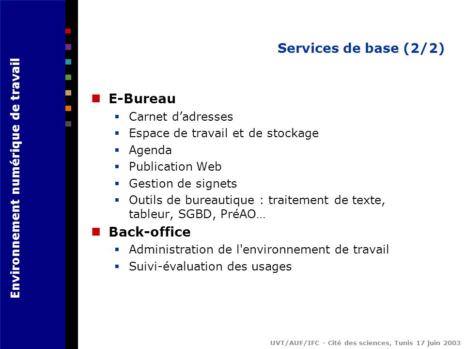 Services de base (2/2) E-Bureau Back-office Carnet d'adresses