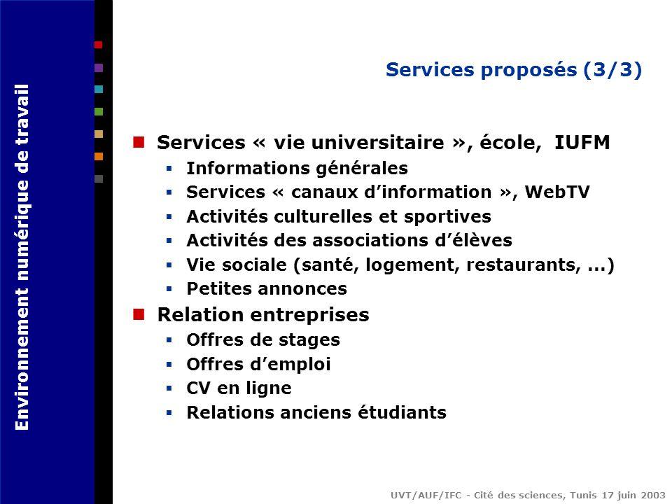 Services « vie universitaire », école, IUFM