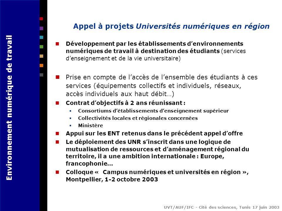 Appel à projets Universités numériques en région