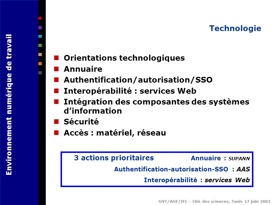 Orientations technologiques Annuaire Authentification/autorisation/SSO