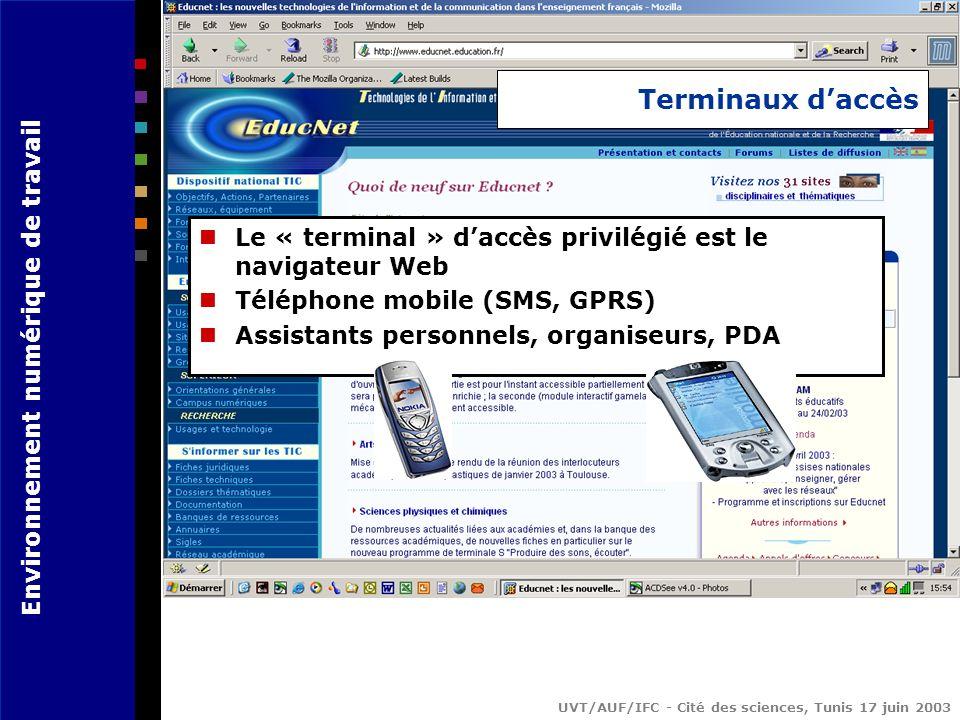 Terminaux d'accès Le « terminal » d'accès privilégié est le navigateur Web. Téléphone mobile (SMS, GPRS)
